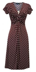 New Ladies Retro WW2 Victory 1940s Wartime Wine Polka Dot Tea Dress - 263781779593